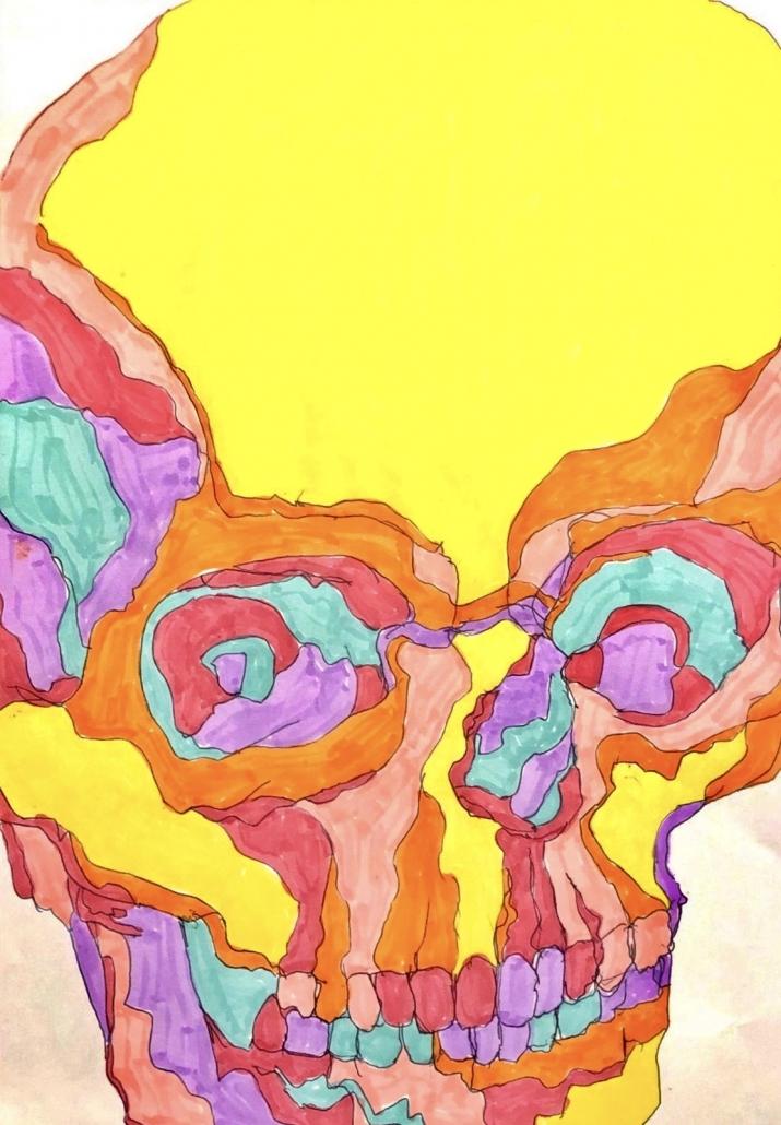 Vibrant Skull by Elena O'Dowd